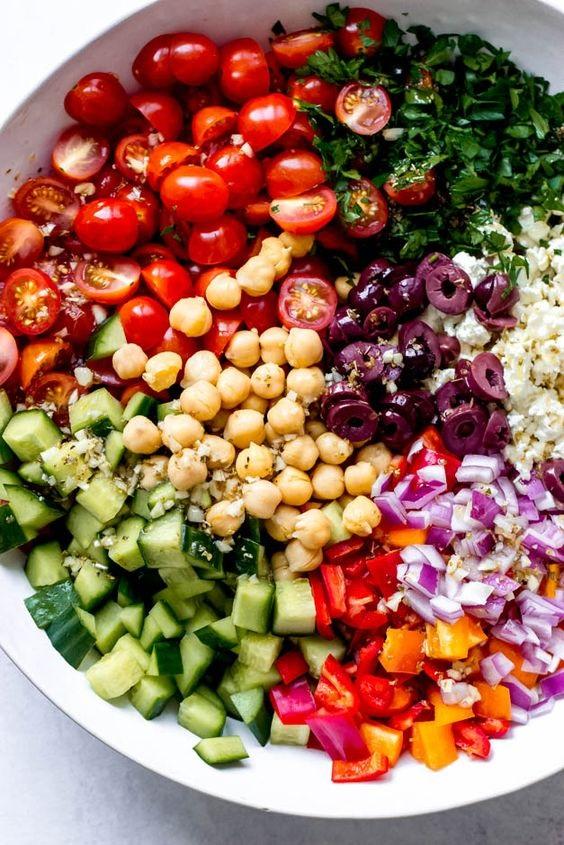 Greek Chickpea Salad With Arugula