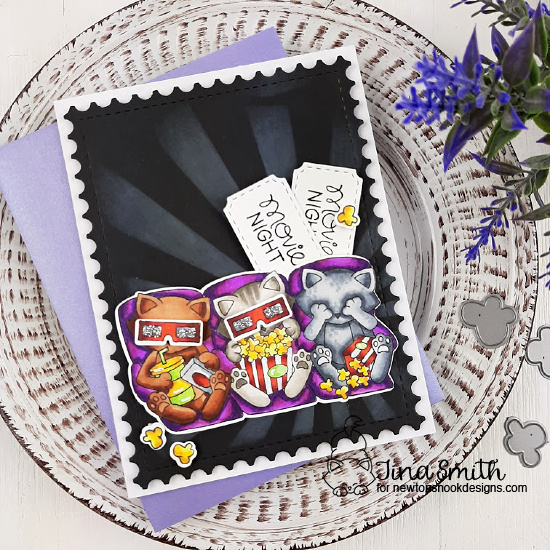 Newton's Movie Night Card  & Video by Tina Smith | Newton's Movie Night Stamp Set, Sunscape Stencil and Framework Die Set by Newton's Nook Designs #newtonsnook #handmade