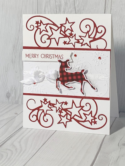 Handmade Christmas Card with Cherry Cobbler swirly stars and plaid deer using Stampin' Up! Peaceful Deer Bundle