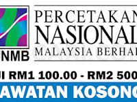 JAWATAN KOSONG TERBARU DI PERCETAKAN NASIONAL MALAYSIA BERHAD - GAJI RM1 100.00 - RM2 500.00