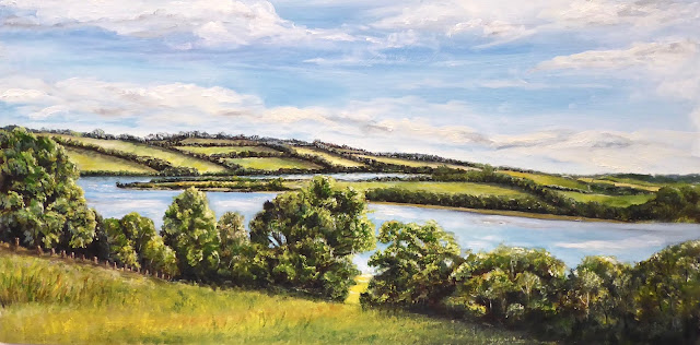 Oil painting of Roadford Lake, Devon in High Summer