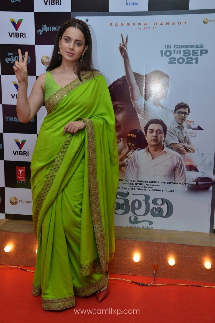 Kangana Ranaut in green saree stills