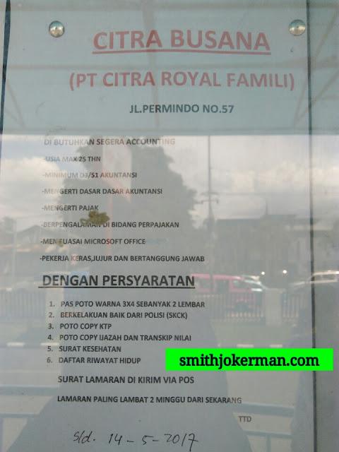 Lowongan Kerja Padang: PT. Citra Royal Famili Mei 2017