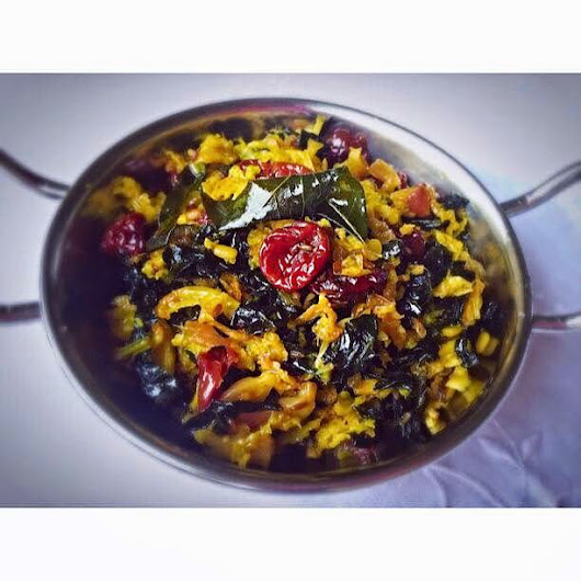 South-Indian Savoy Cabbage and Tuscan Kale Saute' with Cherries