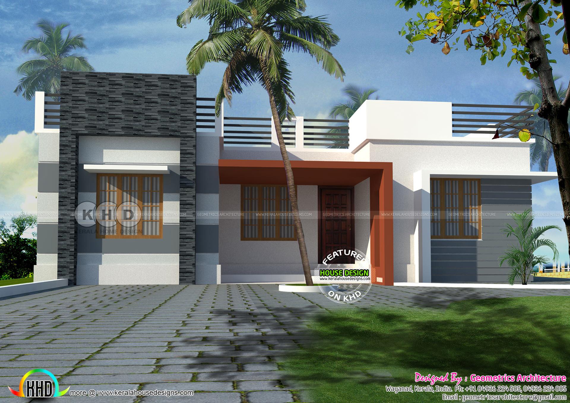 One Floor Flat Roof Home 930 Sq Ft Kerala Home Design Bloglovin