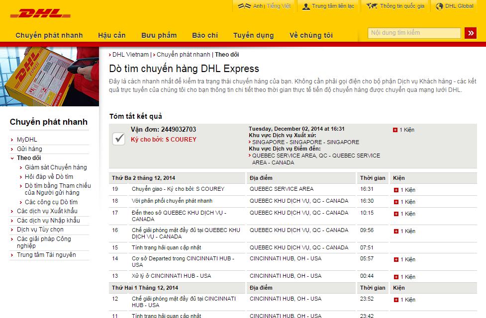 Thông tin chi tiết về bưu gửi của  quý khách hàng trên website DHL