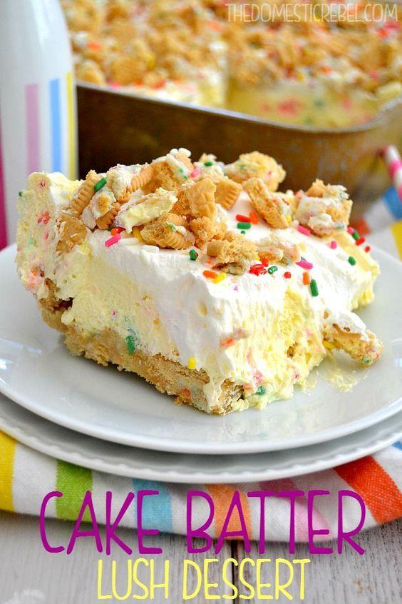 Cake Batter Lush Dessert #cake #batter #lush #dessert #dessertrecipes #easydessertrecipes
