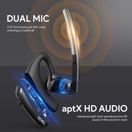 TOKSEL aptX HD Bluetooth Earpiece 24 Hrs Talktime