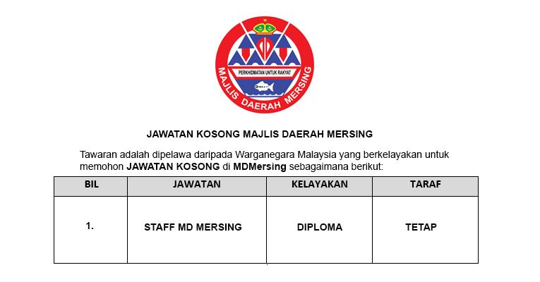 Jawatan Kosong di Majlis Daerah Mersing 2019