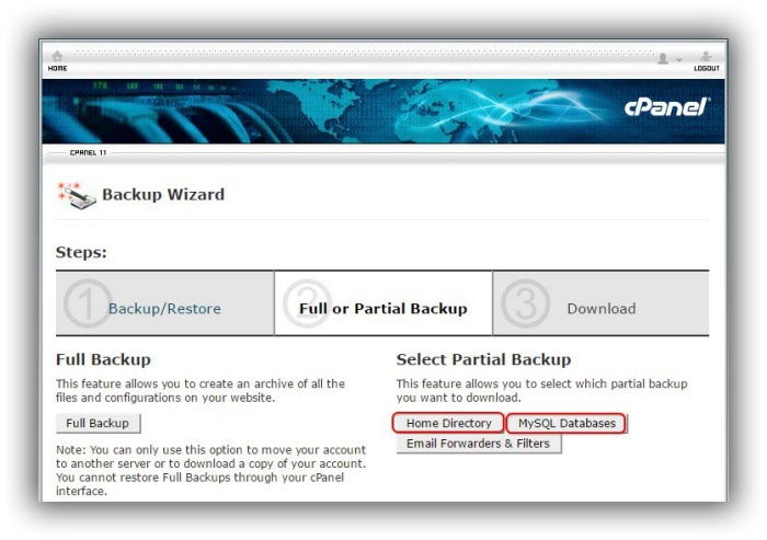cPanel-cara-backup-home-directory-MySQL-database