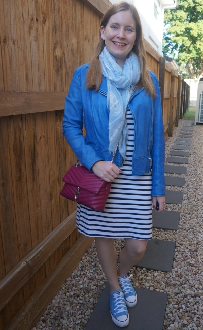 striped tee dress with cobalt leather jacket pastel skull scarf and magenta Edie crossbody bag | awayfromblue