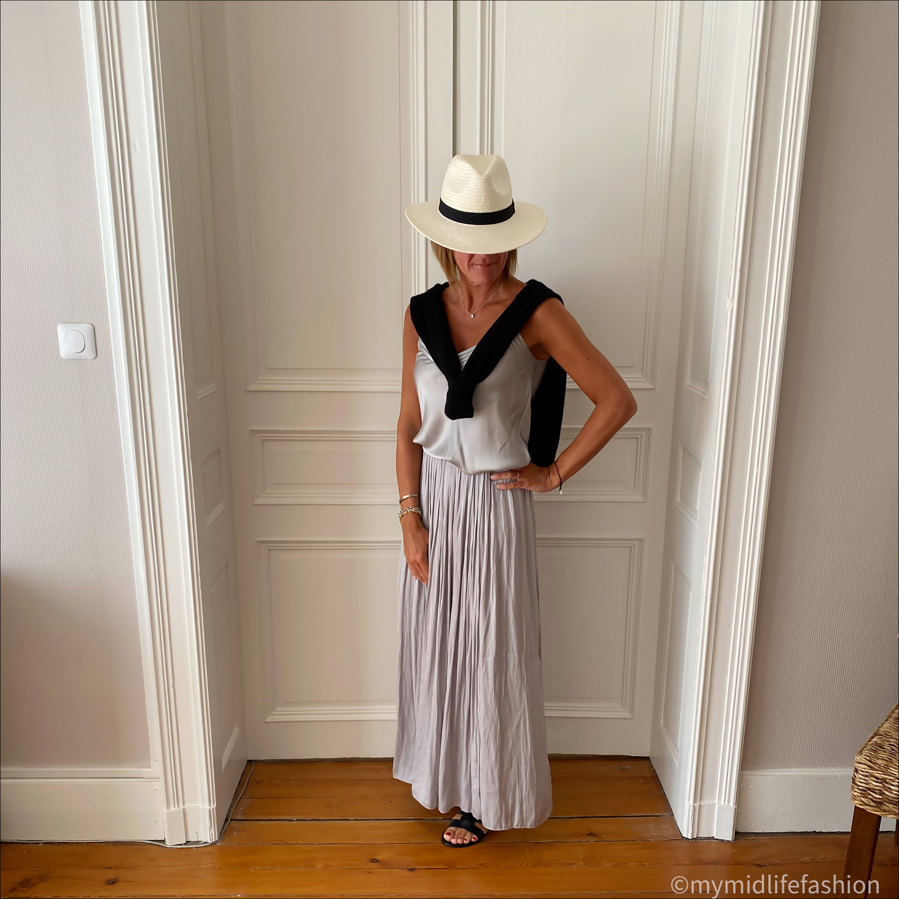 my midlife fashion, zara Panama hat, Massimo Dutti silk camisole, Massimo Dutti soft pleated maxi skirt, Boden crew neck cashmere jumper, Ancient Greek desmos leather sliders