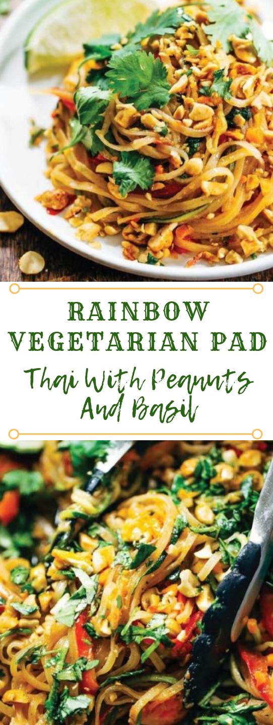 Rainbow Vegetarian Pad Thai With Peanuts and Basil #vegetarian #vegan #breakfast #basil #recipes