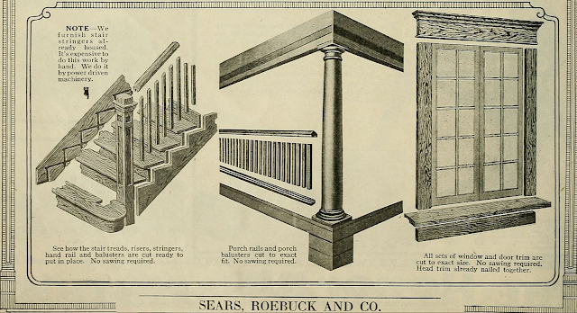 black and white photo focusing on showing pre-cut stairs and pre-cut window trim 1923 Sears Modern Homes catalog page explaining pre-cut system