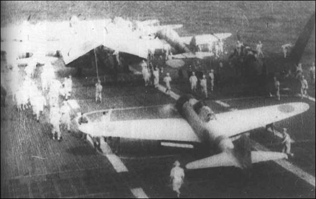 Aircraft on deck of Japanese aircraft carrier Akagi, 20 January 1942 worldwartwo.filminspector.com