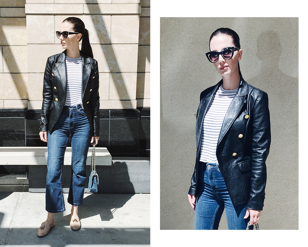 denim on denim, style basics, cropped denim, flared denim, cropped flares, flat mules, slides, leather blazer, military blazer, leather jacket, striped top, stripes, spring 2016