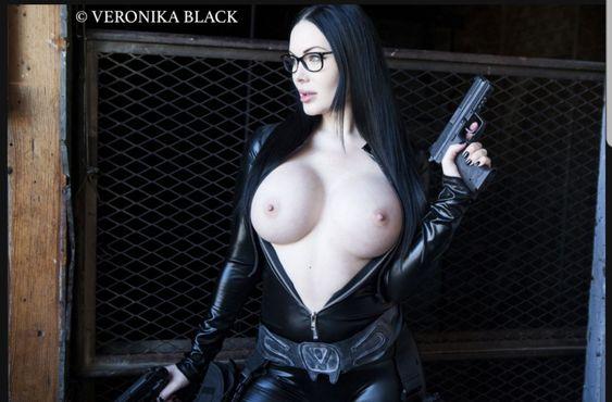 Veronika Black naked boobs black widow cosplay