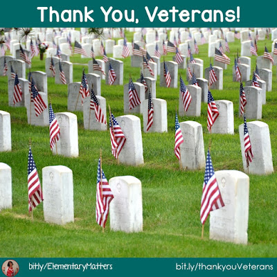Thank you Veterans! This blog post has several videos, resources, and ideas for teaching the importance of Veterans Day, including a freebie!