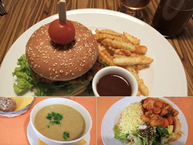 burger vegetale, zuppa di lenticchie e riso e verdure al ristorante radharane