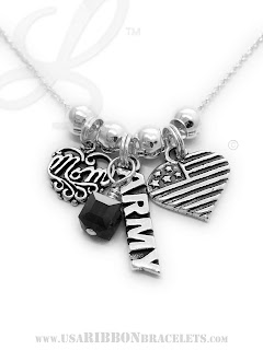 Military Mom / Army Mom Charm Necklace with a Mom Charm, Flag Heart Charm, Army Charm and add-on January Birthstone Charm - USA-N8-Army