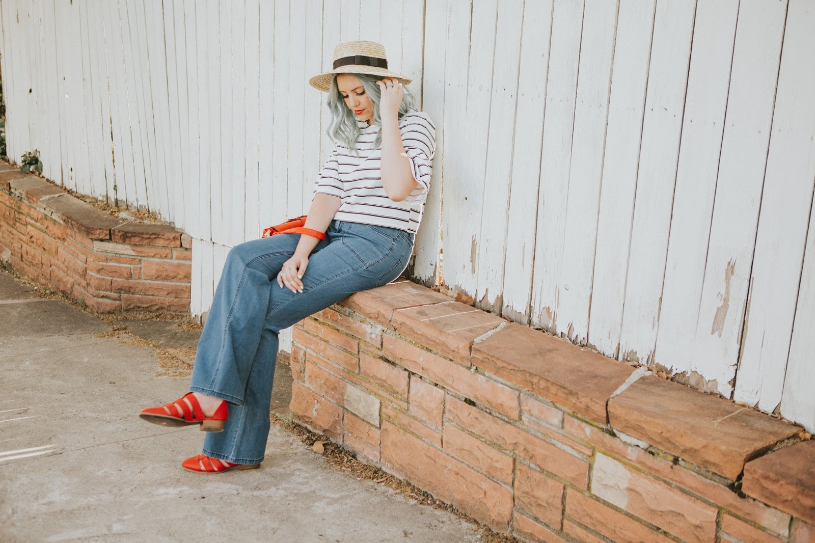 Blue Hair, Stripes, Red Shoes