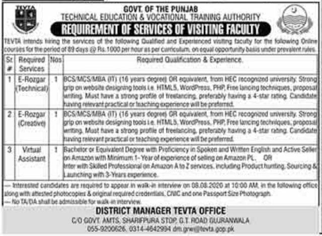 TEVTA Punjab Jobs 2020 Visiting Faculty Jobs