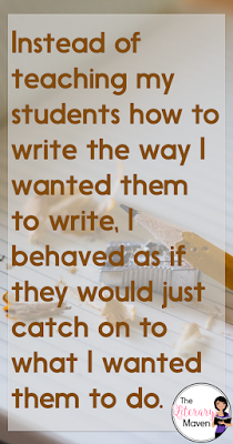 By the time students reach middle school and especially high school, there is this assumption that students know how to write. They have, after all, been doing it for five, six, seven, eight years, right? Wrong. Writing must be explicitly taught; it's not something to which students will just catch on.