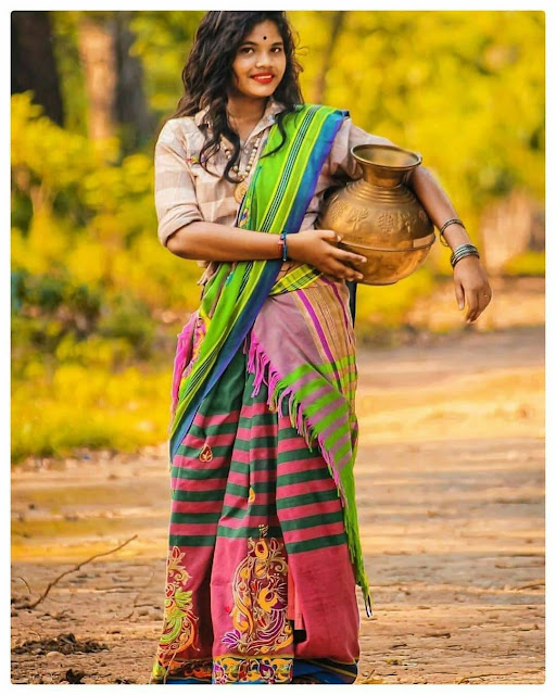santali girls image hd with traditional clothes
