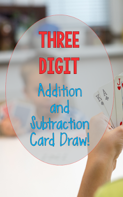 Addition and Subtraction Three Digit Card Draw: Here's a freebie that makes it real easy to practice addition and subtraction skills!