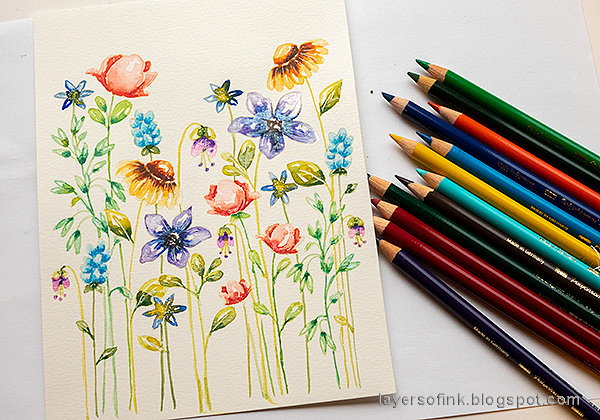 Layers of ink - Watercolor Floral Garden no-line coloring tutorial by Anna-Karin Evaldsson. Add shading with Faber-Castell Polychromos pencils.