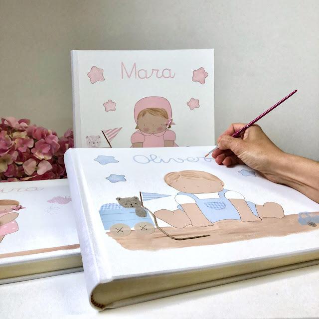 regalos personalizados álbum fotos infantil pintado a mano