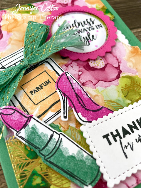 This feminine Give it a Whirl (viewfinder/viewmaster) by Stampin' Up! card uses the Give it a Whirl Dies, Dressed to Impress set, All Dressed Up Dies, Flowers of Friendship set, Stitched So Sweetly Dies, Expressions in Ink Designer Series Paper, and Just Jade & Gold Braided Ribbon.  Link to video, measurement, and supply list on the blog.  #StampinUp #StampTherapist #GiveitaWhirl #DressedToImpress