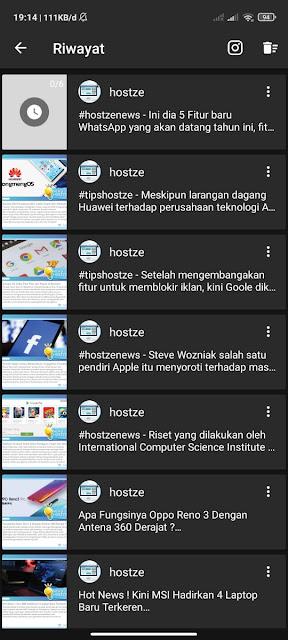 Proses download foto dan video instagram dari akun  - hostze.net