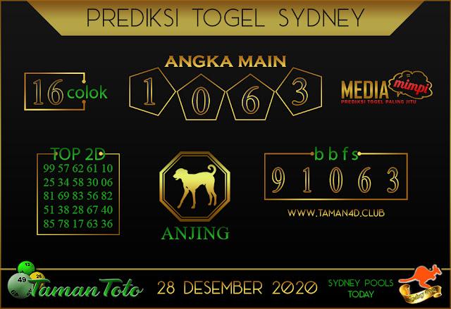 Prediksi Togel SYDNEY TAMAN TOTO 28 DESEMBER 2020