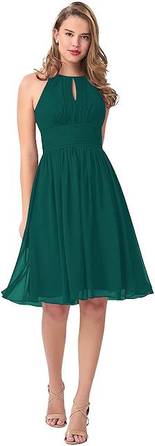 Short Teal Chiffon Bridesmaid Dresses