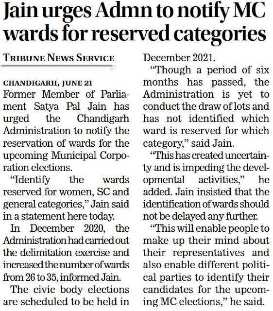 Jain urges Admn to notify MC wards for reserved categories