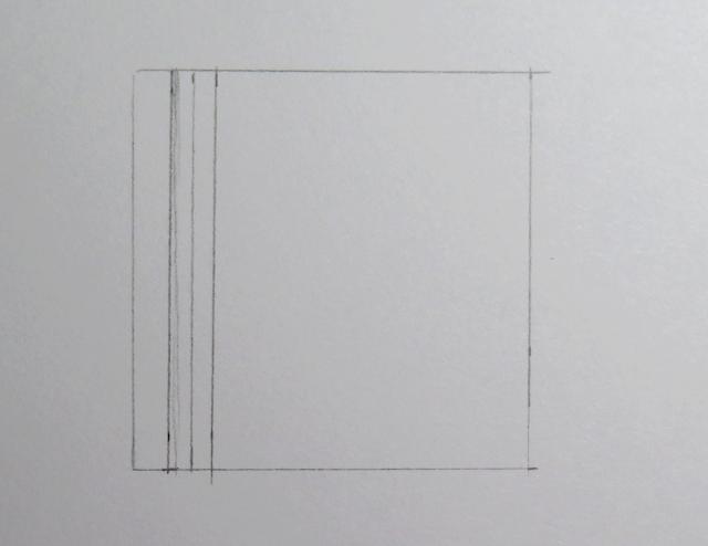 Dibujo a lápiz de tres líneas verticales dentro de un cuadrado