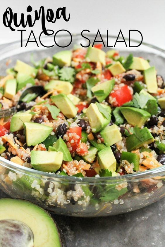 This Quinoa Taco Salad is one of my favorite lunches – it's so easy to throw into a container on the way out the door.  It also makes a great dinner!  It has a great balance of veggies, fiber, protein, and healthy fat to keep you full and satisfied.