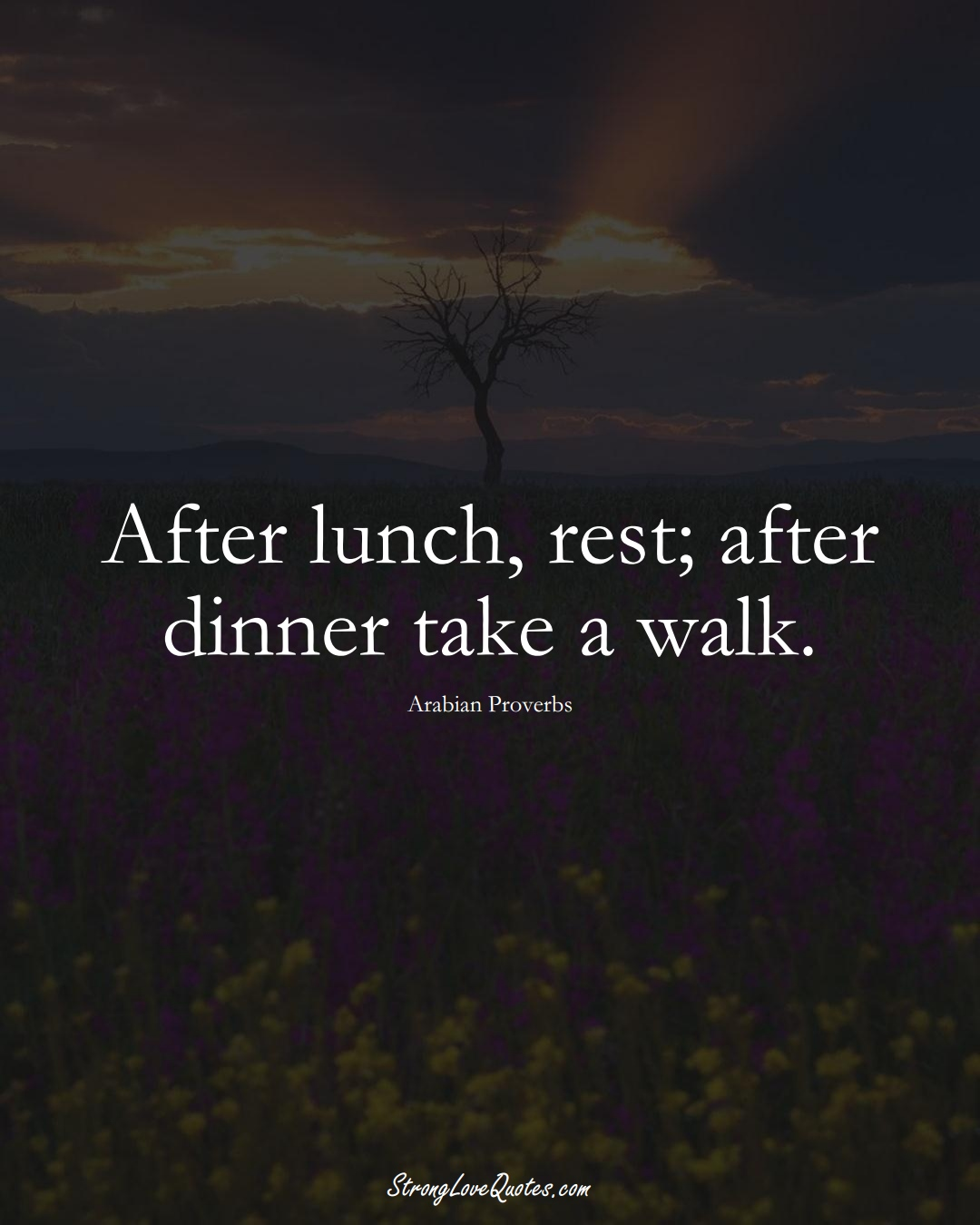 After lunch, rest; after dinner take a walk. (Arabian Sayings);  #aVarietyofCulturesSayings