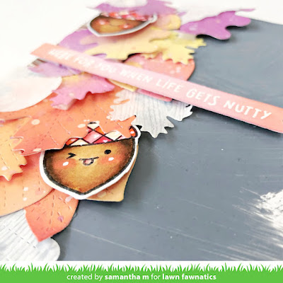 Here for You When Life Gets Nutty Card by Samantha Mann, Lawn Fawnatics Challenge, Lawn Fawn, Die Cuts, Distress Oxide Inks, Ink Blending #lawnfawn #lawnfawnatics #distressoxideinks #inkblending #autumn #cards #cardmaking