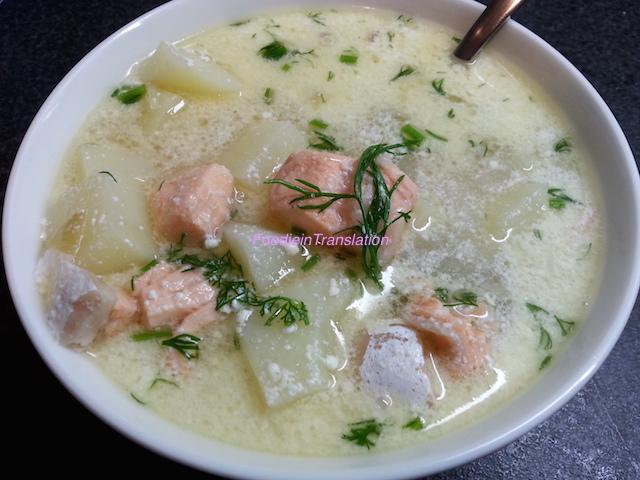 Lohikeitto o zuppa di salmone