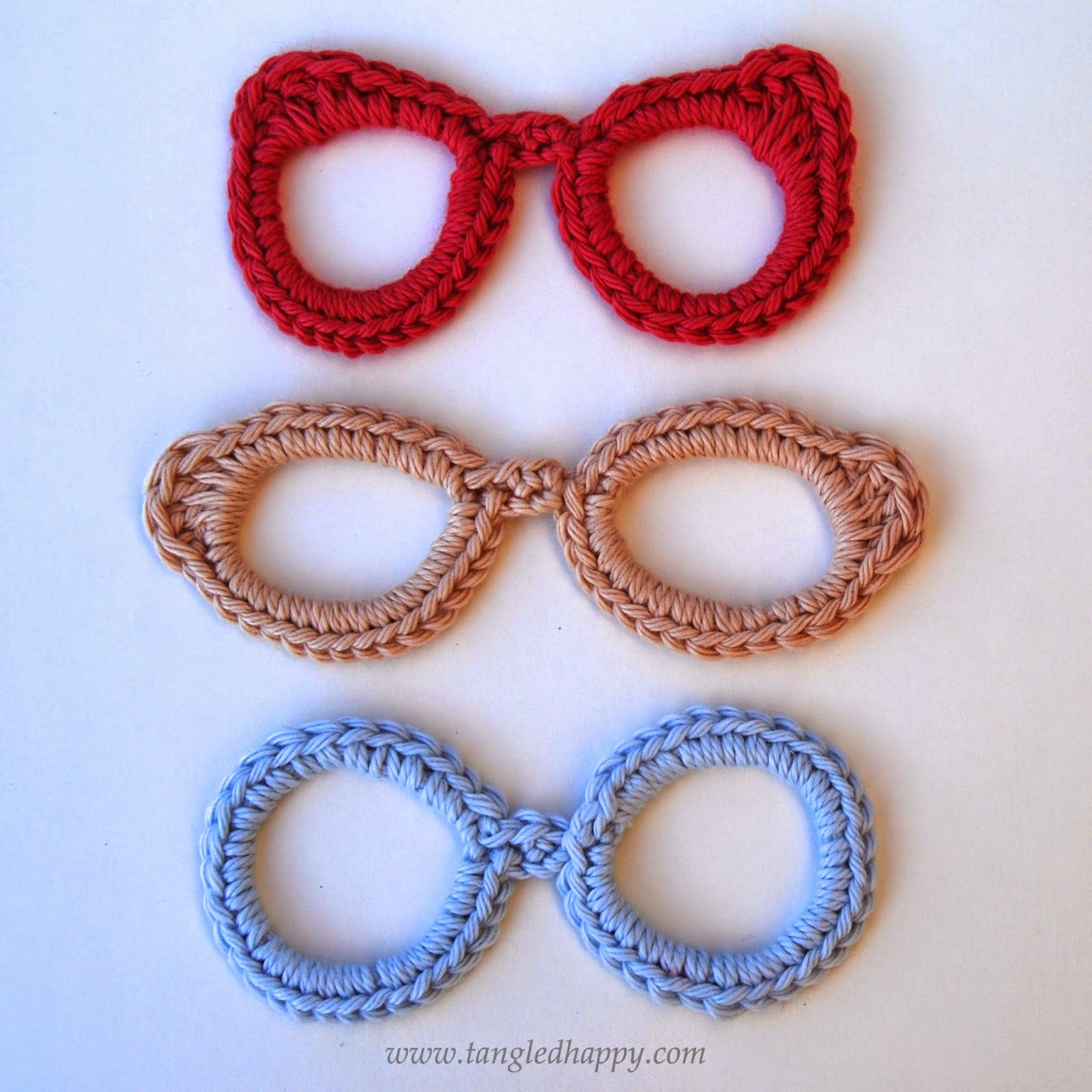 Applique Tangled Happy Eyeglasses Applique Free Crochet Pattern