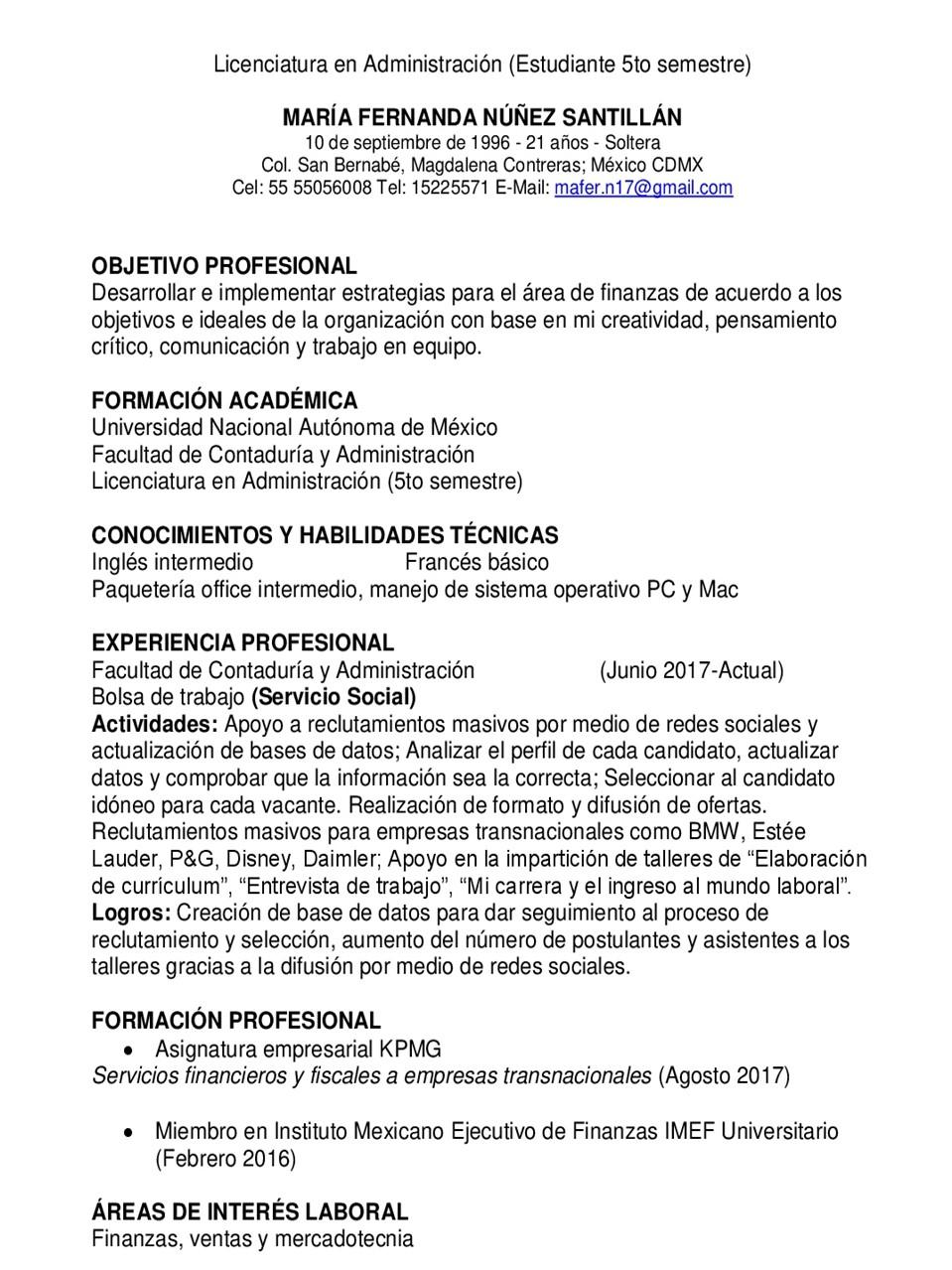 EJEMPLOS CV´S : FORMATO DE CV ESTUDIANTE DE LICENCIATURA