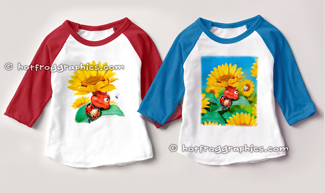 2 toddler raglan sleeve T shirts both with small ladybug sleeping on a sunflower