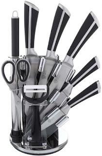 طقم سكاكين مطبخ ستانلس ستيل مع حامل 8 قطع