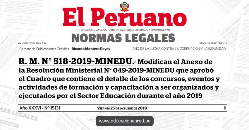 R. M. N° 518-2019-MINEDU - Modifican el Anexo de la Resolución Ministerial N° 049-2019-MINEDU que aprobó el Cuadro que contiene el detalle de los concursos, eventos y actividades de formación y capacitación a ser organizados y ejecutados por el Sector Educación durante el año 2019