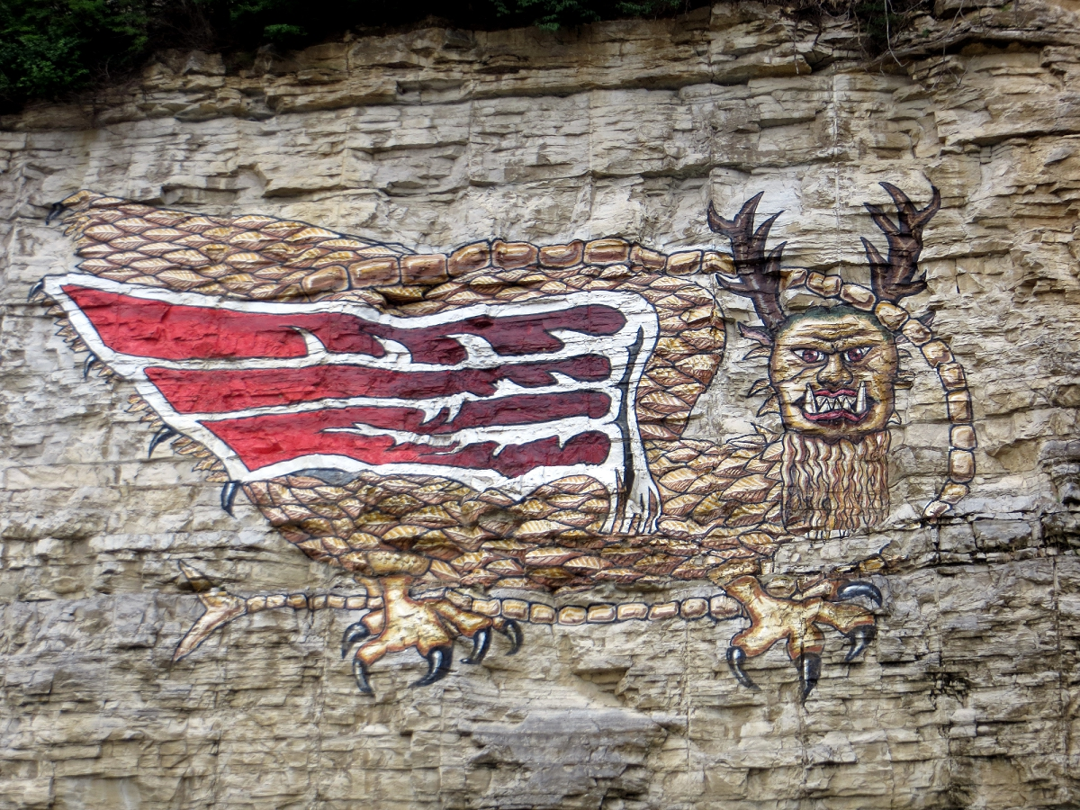 Otis odd things ive seen native american dragons the piasa there are two stories here one about an ancient creature that feeds on humans the other about a mural that has overlooked the mississippi off and on since amipublicfo Choice Image