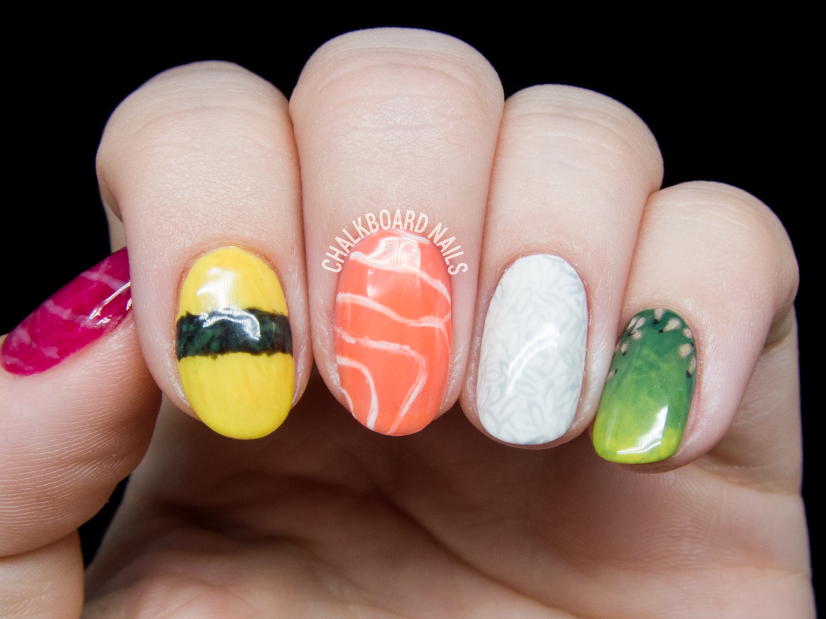 Sushi nail art by @chalkboardnails