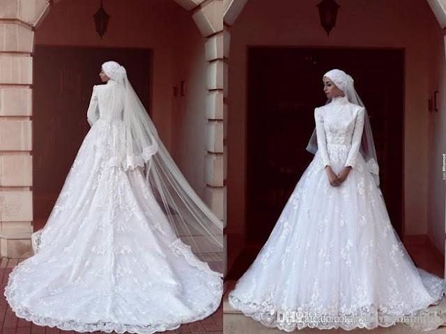فستان زفاف للمحجبات بذيل طويل وطرحة طويلة موديل 2020
