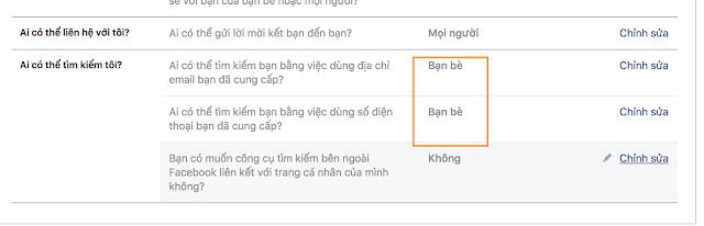 Không cho người khác tìm kiếm nick facebook bằng email và số điện thoại